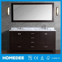 "72"" black bathroom vanity set with white marble counter top"