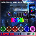 Newest RGB 45w LED Jeep headlight bluetooth Apple Android APP control 7inch round halo headlight