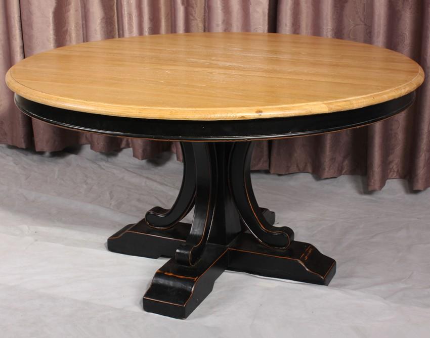 Fran ais pays style vintage en bois massif table manger for Table ronde bois massif pied central