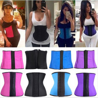 7 COLORS Women Latex Rubber Waist Training Cincher Steel Boned Corset Shaper Shapewear xs-6xl