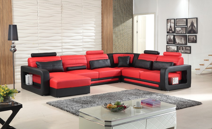 Italian design comfortable sitting leather sectional sofa 9119