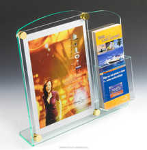 8.5 x 11 Acrylic Sign Holder with Pocket for 4 x 9 Brochures, Stand off Hardware Clear