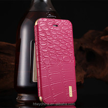 Luxury Imatch Crocodile Genuine Flip Leather Cover With Metal Aluminum Bumper Case For Samsung S6