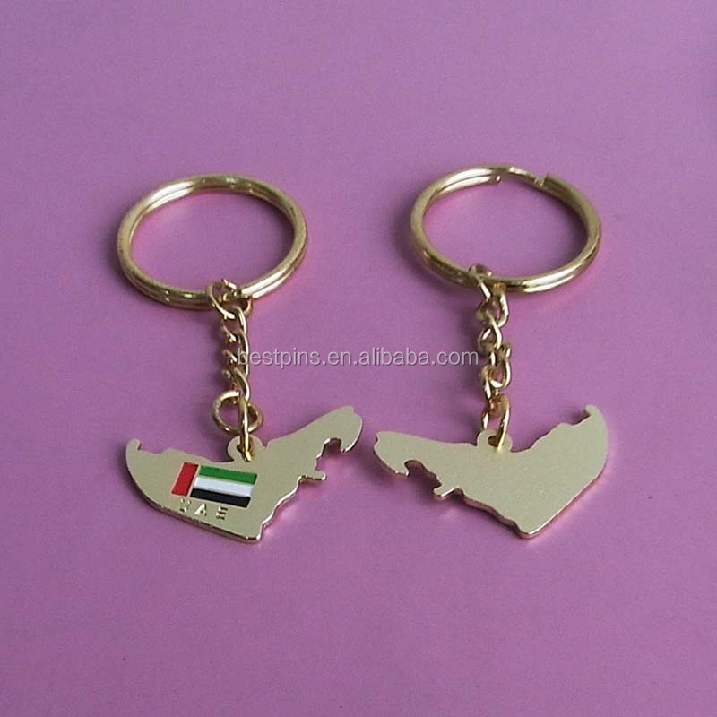 United Arab Emirate map and flag gold key chains