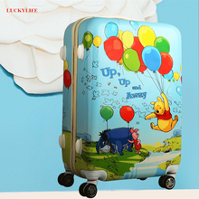 Elastic handle plastic cartoon luggage flying balloon printing suitcase with wheel protective