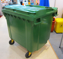 660L/street rectangular trash bin/mobile outside garbage bin