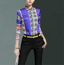 2017 Spring Fashion Colorful Print Top Long Sleeve Lapel Collar Women Shirt latest shirt designs for women