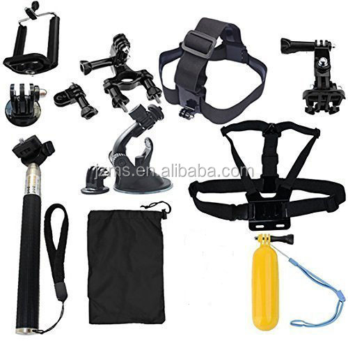 8-in-1 sports camera accessories kit bundle Chest Mount Harness/J-hook/Telescopic Pole/Suction Cup and free pouch