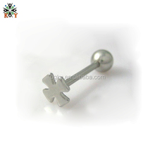 Silver Cross flower customized tongue rings Barbell piercing