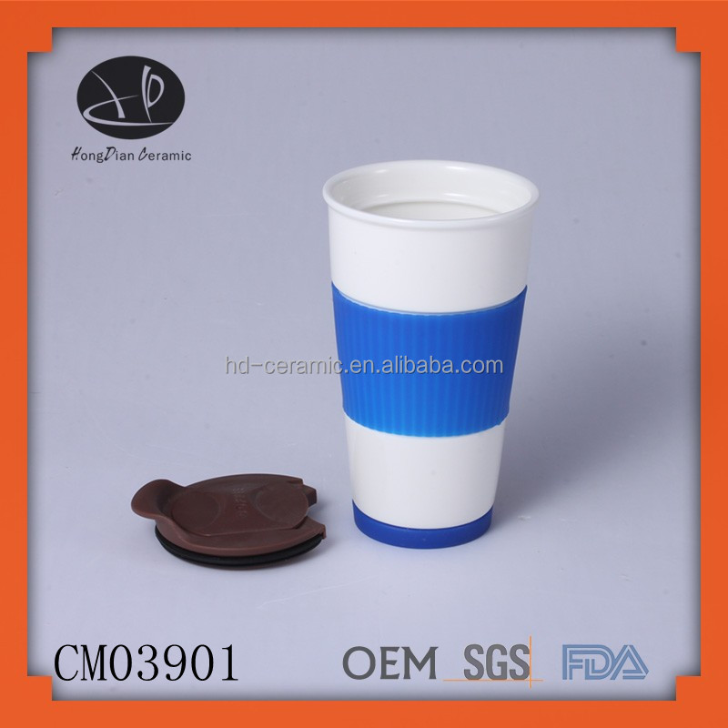 Mug Sublimation Ceramic Mug With Silicone Lid Screen Printing Mug View Single Wall Hongdian