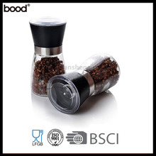High quality plastic glass salt and pepper grinder set/pepper mill set