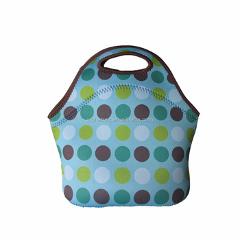 China wholesale custom print recyclable neoprene lunch bag/kids school thermal lunch tote bag