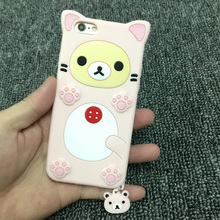Rilakkuma Bear 3d Soft Silicone Case Cover for Iphone5/5s/6/6 plus