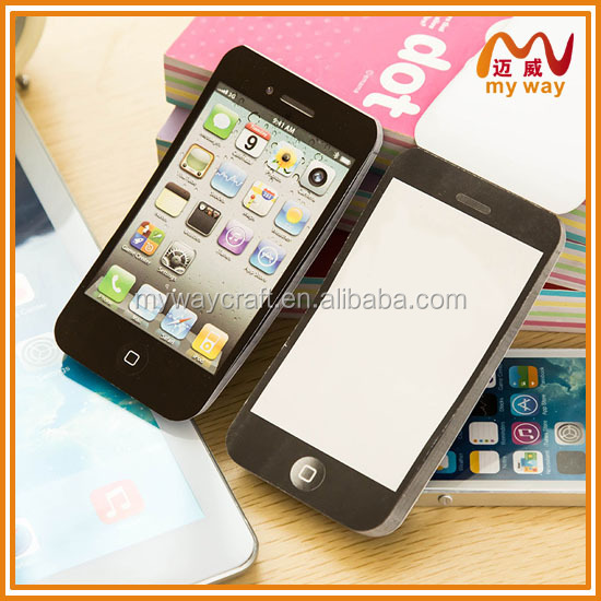 unique mobile phone shaped glued memo pad and note pad to any country