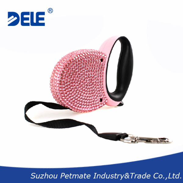 Fashion Design Crystallized Retractable Leash Covered with Bling Bling
