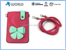 Super Slim Ultra Slim PU Leather Universal Pouch for Mobile Phone with Lanyard