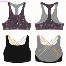 Sexy Lady Elastic Band Sublimation Printed Sport Wear Women Workout Gym Fitness Tank Top Yoga Run Bra