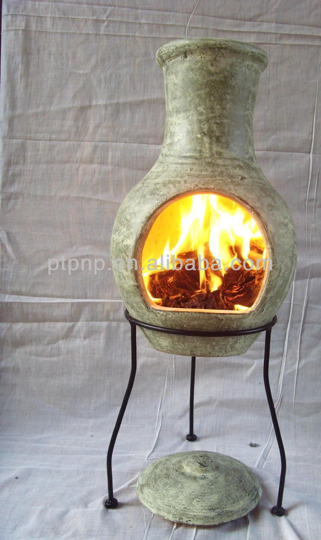 Chimeneas de barro con soporte de metal y fuego estante - Chimeneas de barro ...