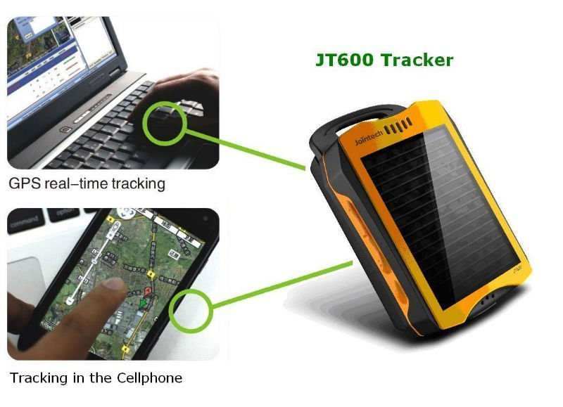 Portable GPS tracker with solar battery that never recharge a battery again as long as there is sun