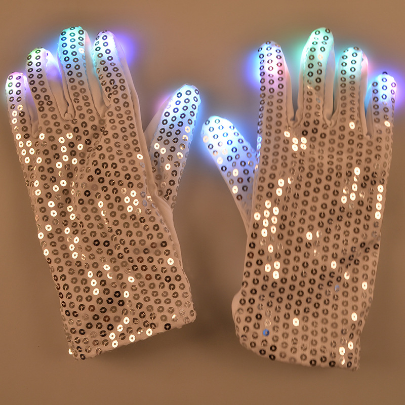 Flashing party dance light up LED gloves