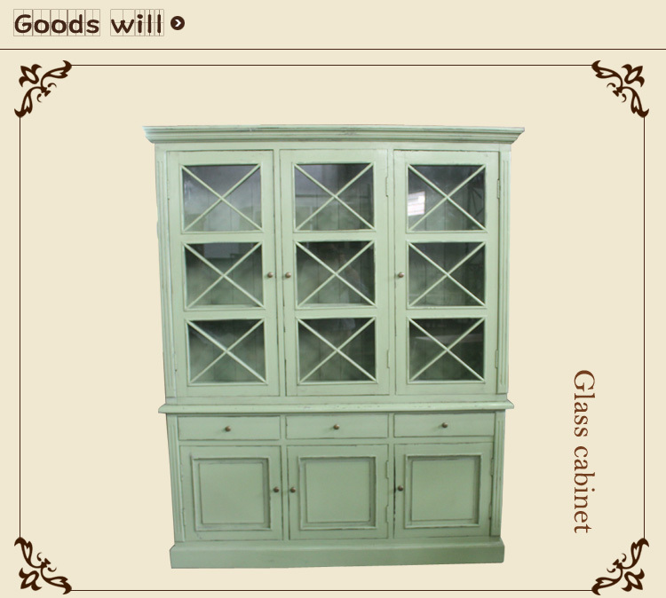 wooden the glass door cabinet European style furniture Antique furniture