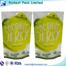 Transparent Window Hanger Hole Packing Dried Spicy Coconut Beef Jerky Packaging Bags