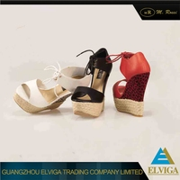 2016 New design good quality lady fashionable wedge high heel sandals for sale
