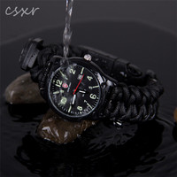 Simple black Survival fishing tool kit inside 550 paracord watch
