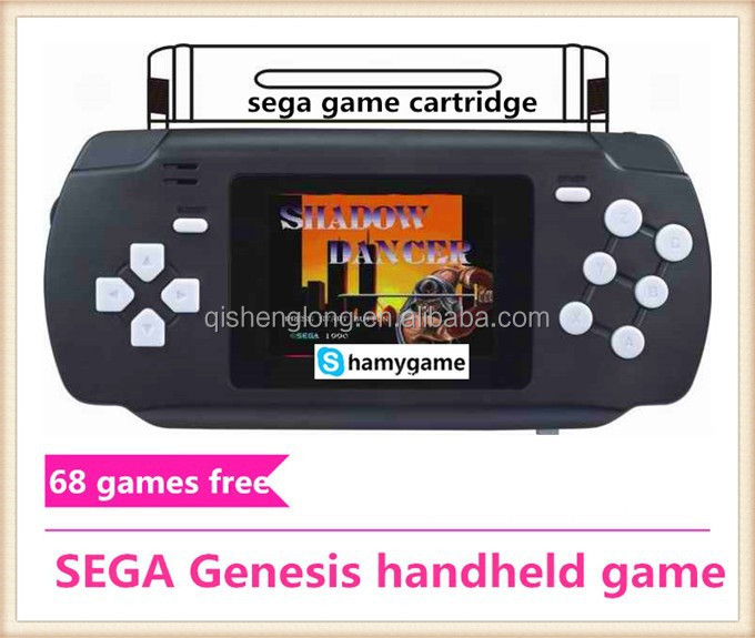 16bit SEGA Genesis pocket handheld game player include 68 in 1 games,cartridge solt,AV out,Colourfull,rechargable