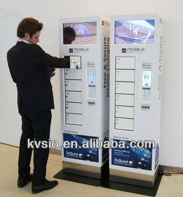 Smart customized Touch screen coin operated Cell Phone Charging Kiosk with Digital Lockers/ self-pay mobile charging station