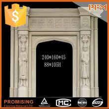 well polished natural wholesale hand carved plaster yellow fireplace