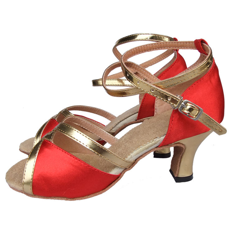 Satin Latin dance shoes female high-heeled shoes Latin square dance shoes adult female Latin dance shoes