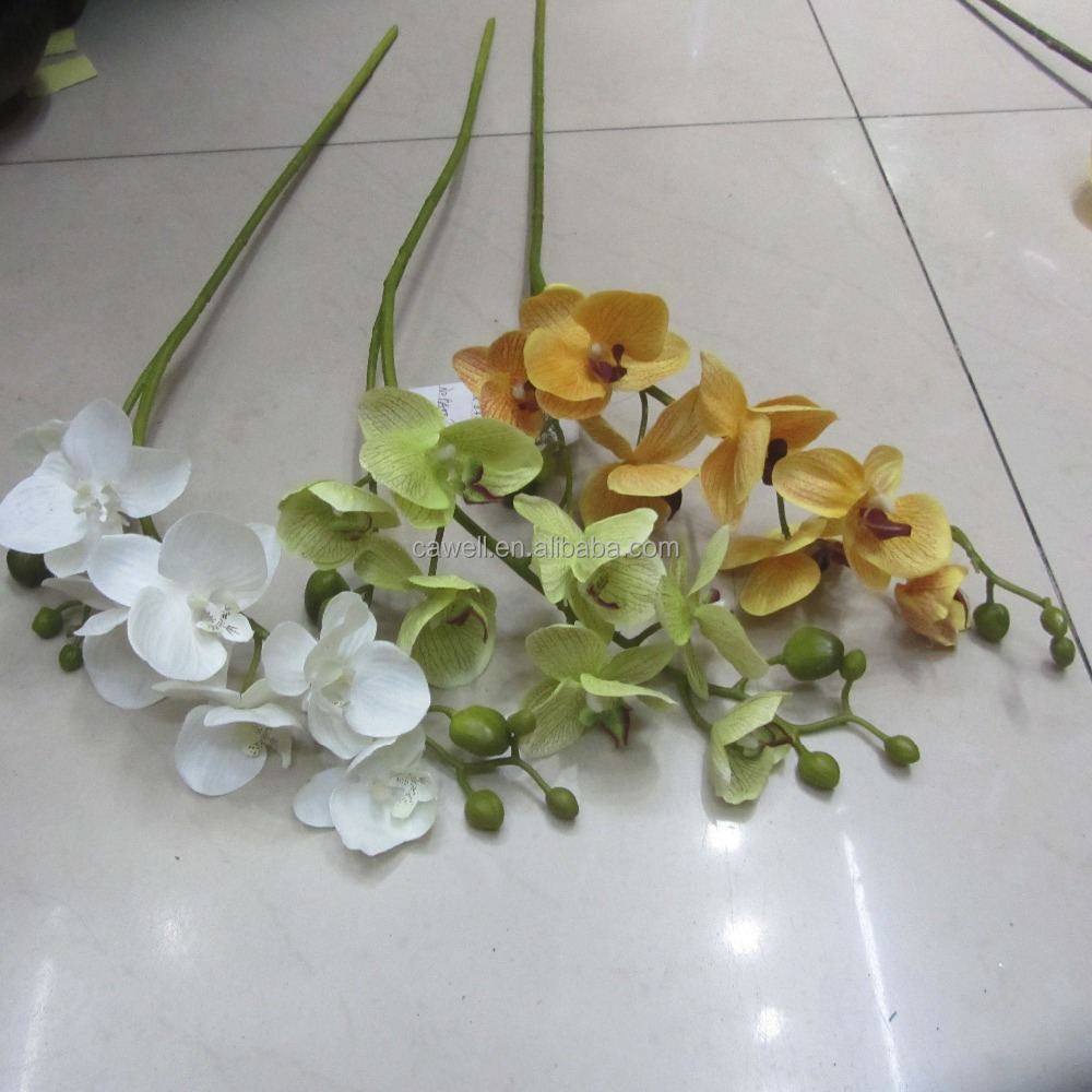 cheap plastic 7 heads two branches artificial orange orchid