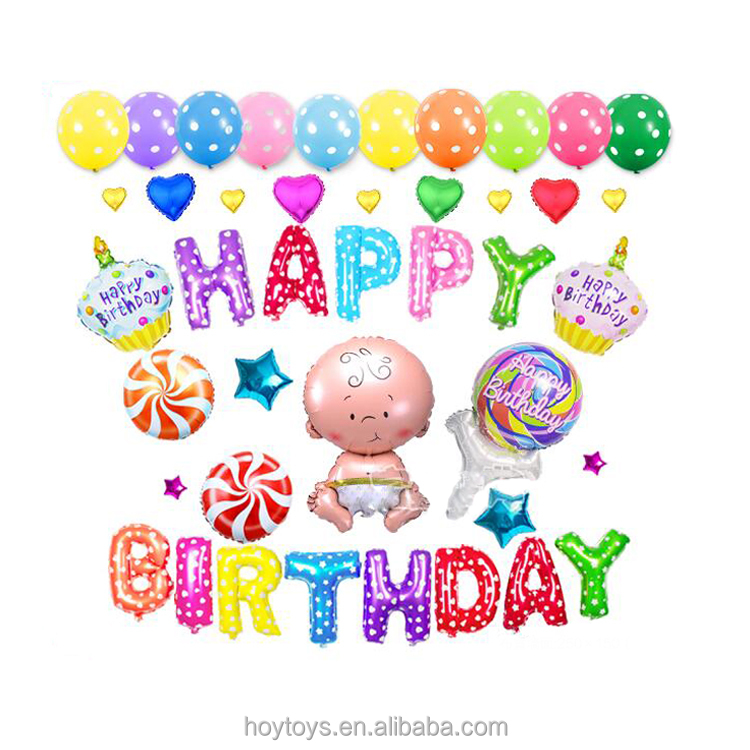 "OEM "" Happy Birthday designs"" greeting words inflatable Balloons"