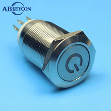 16mm 12V Blue Led Metal Power Symbol Push Button Momentary Switch For Car Boat
