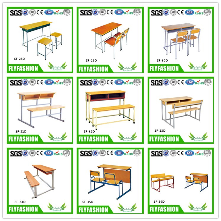 SF-15D Plastic Double Desk and Chair School Furniture College Tables and Chairs