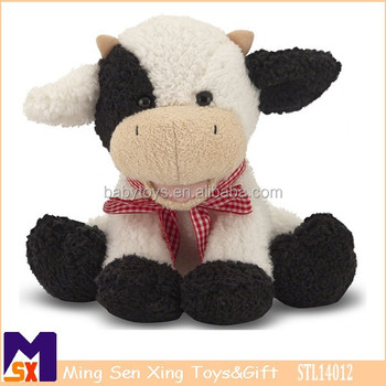 "8"" sitting Soft fuzzy plush cow toy for toddlers ,certificated adorable soft cow toy for 6 months & Up"