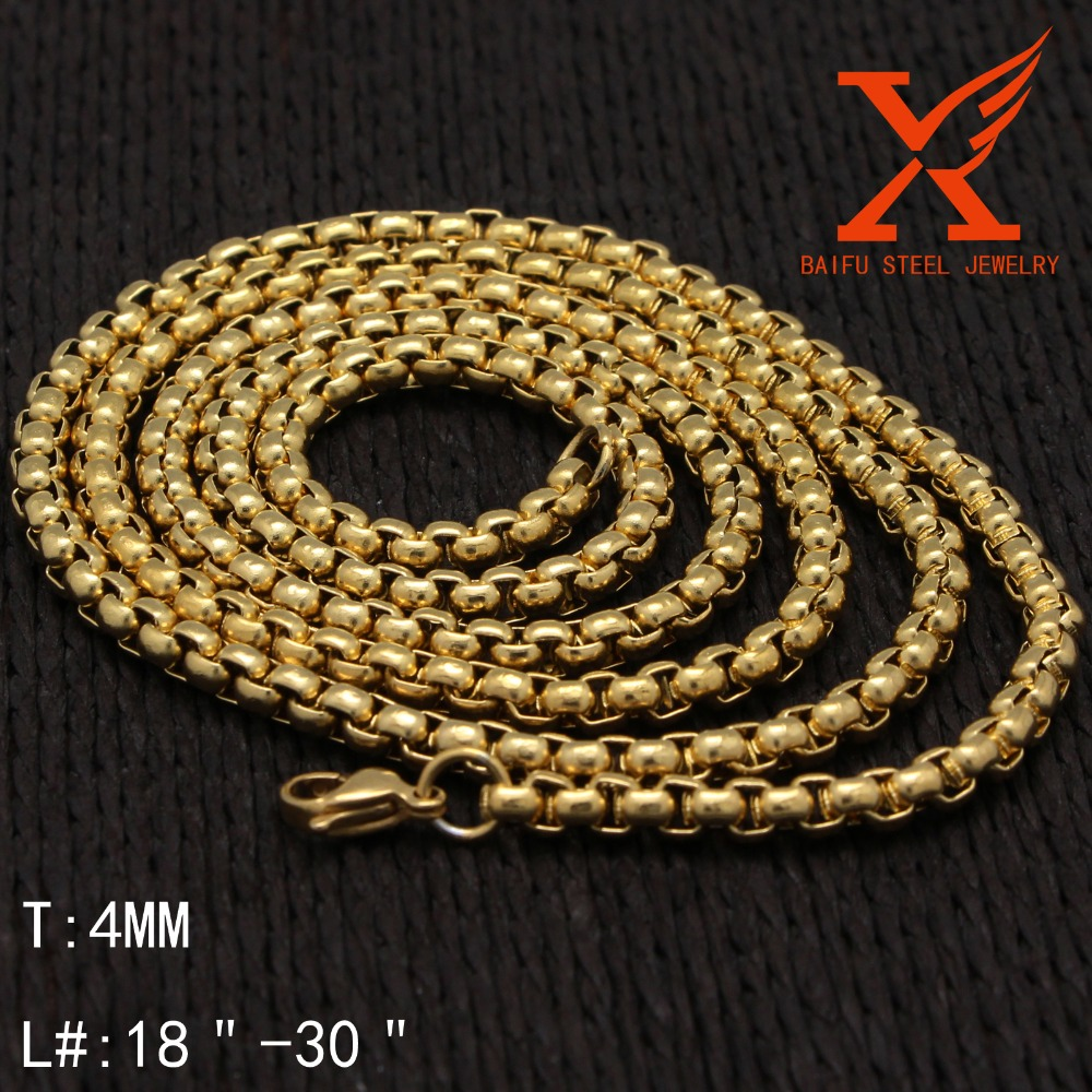 "Wholesale Chunky Top Quality Fake Gold Plated Stainless Steel Link Chain Necklace for Length 18"" 20"" 24"" 28"" 30"" 36"""