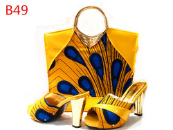 Fashion african wax high heals shoes and matching bags / african shoes and bag set yellow