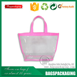 Pink beautiful women shopping tote pvc blank bag