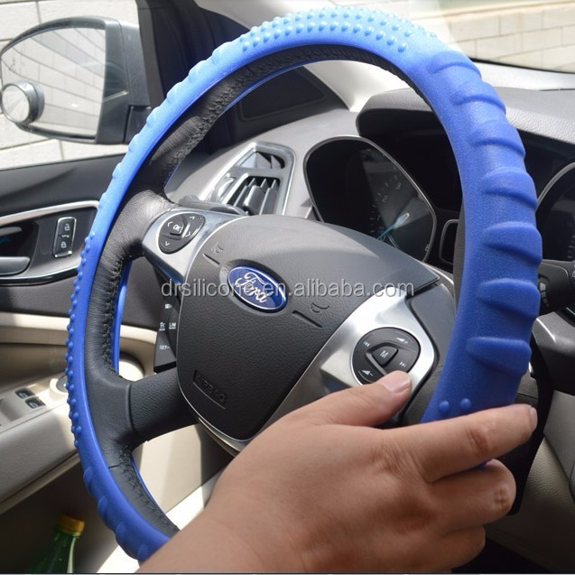 Superior Massage Sport Grip Slip-on 36-40cm Use Silicone Steering Wheel Cover, Green