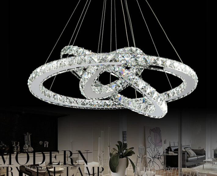 led remote control K9 crystal round ring chandelier ceiling lamp