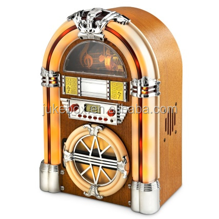 Tabletop wooden jukebox speaker with radio am fm / cd mp3 player / usb sd/ bluetooth - gifts for kids / father / mother / lover