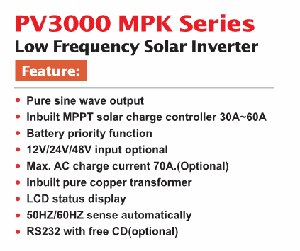 Hot ! 12v 24v 48v LCD display 1000w 2000w 3000w 4000w 5000w 6000w MPPT solar inverter