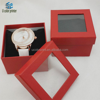 Custom Luxury Red Paper Watch Box Packaging With PVC Window