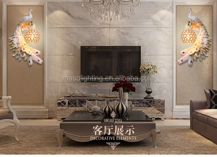 Luxurious Life Hotel wall lamp Peacock golden painting glass Animal resin wall lamp for Fancy club hotel resutrant decoration