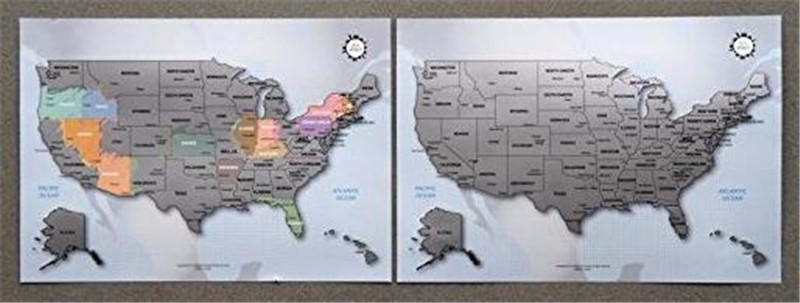 Personalized Scratch-off Us Map the United States of America A4 Size Poster Travel Silver Layer AMA-07