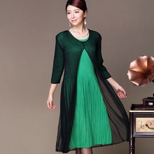 Two pieces mesh dress pleated lady's plus size dress