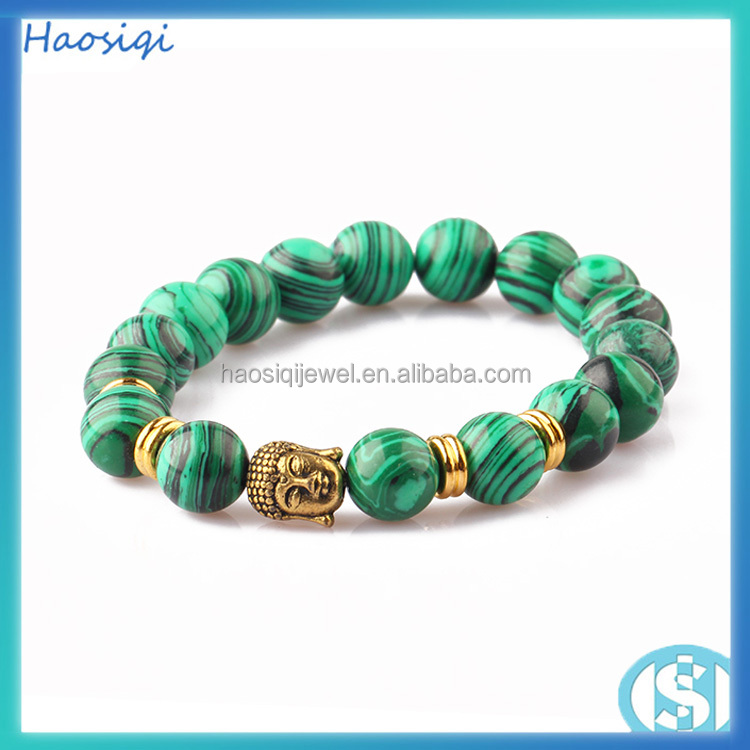 High quality European beads matte agate men fashionable beads gold buddha head bracelet for sex women