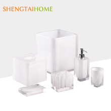 Good Quality Luxury Transparent Hotel Balfour White Resin Bathroom Accessories Set